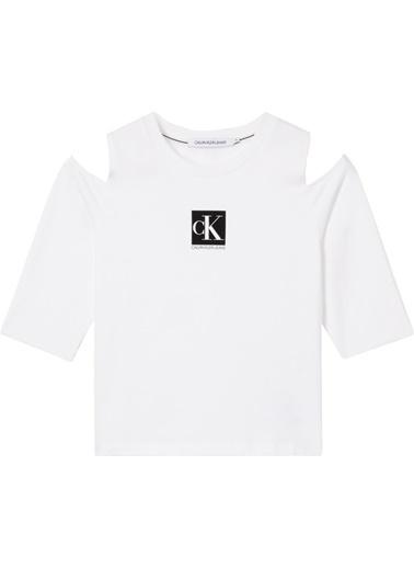 Calvin Klein J20J215323 Cold Shoulders Box Logo Tee Beyaz